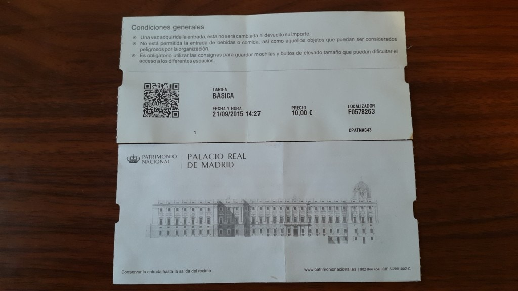 Palacio Real de Madrid/Royal Palace of Madrid- entry ticket
