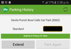Devils Punch Bowl car park- Ring Go Reference no.